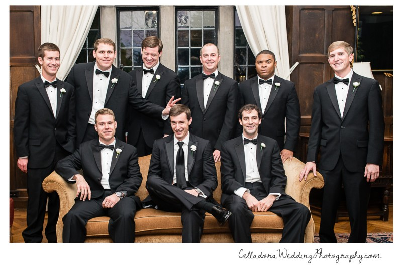 groomsmen-goofing-off-in-photo-800x534 Laura and Kevin Nashville Wedding at Scarritt Bennett