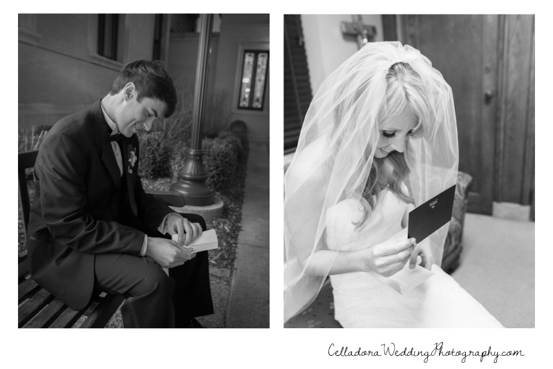 bride-and-groom-reading-letters Catherdral of the Incarnation Wedding | Avenue Reception | Erin + Zach