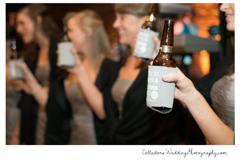 bridesmaids-toast-with-custom-coozies Catherdral of the Incarnation Wedding | Avenue Reception | Erin + Zach