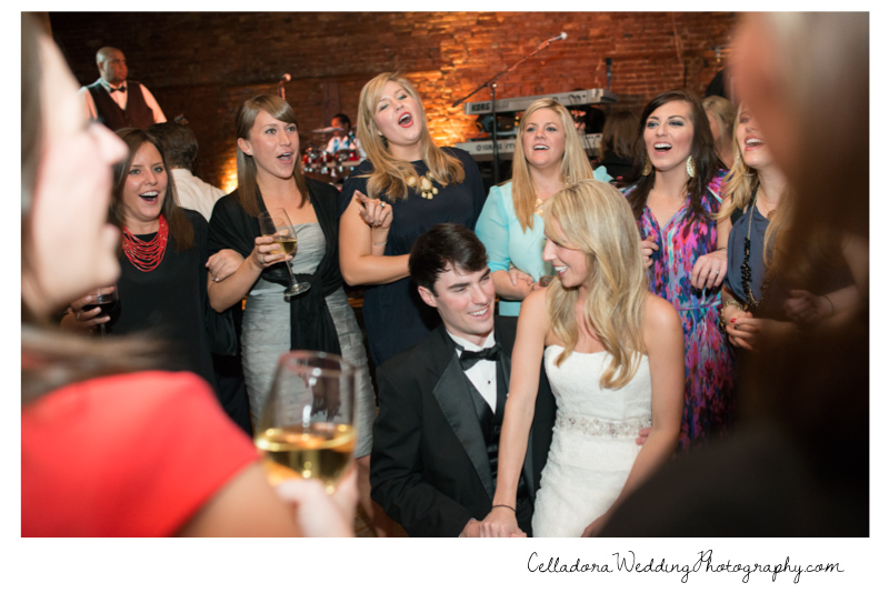 sorority-singing-to-couple Catherdral of the Incarnation Wedding | Avenue Reception | Erin + Zach