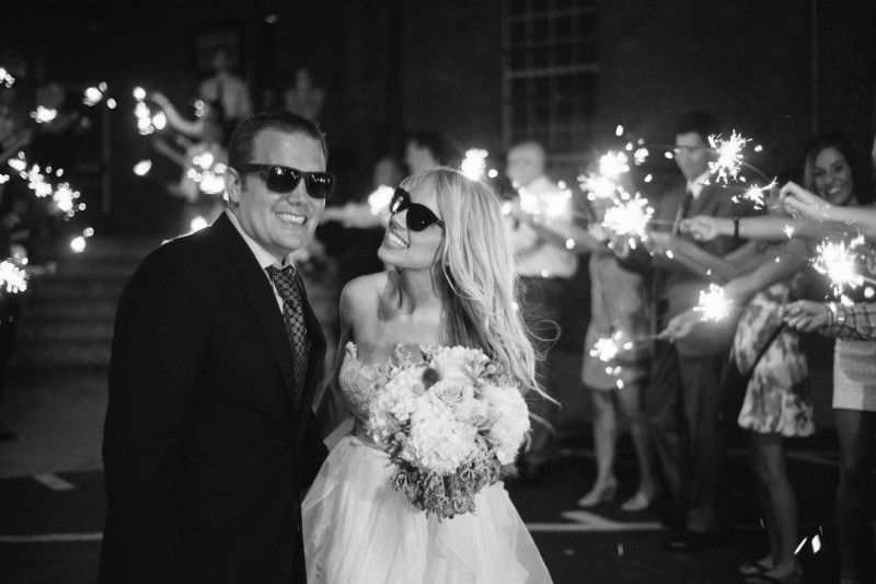 bride-and-groom-sparkler-exit-800x533 One Cannery Ballroom Nashville 4th of July Wedding | Brian and Jenna
