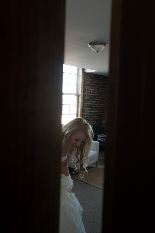 bride-through-doorway-533x800 One Cannery Ballroom Nashville 4th of July Wedding   Brian and Jenna