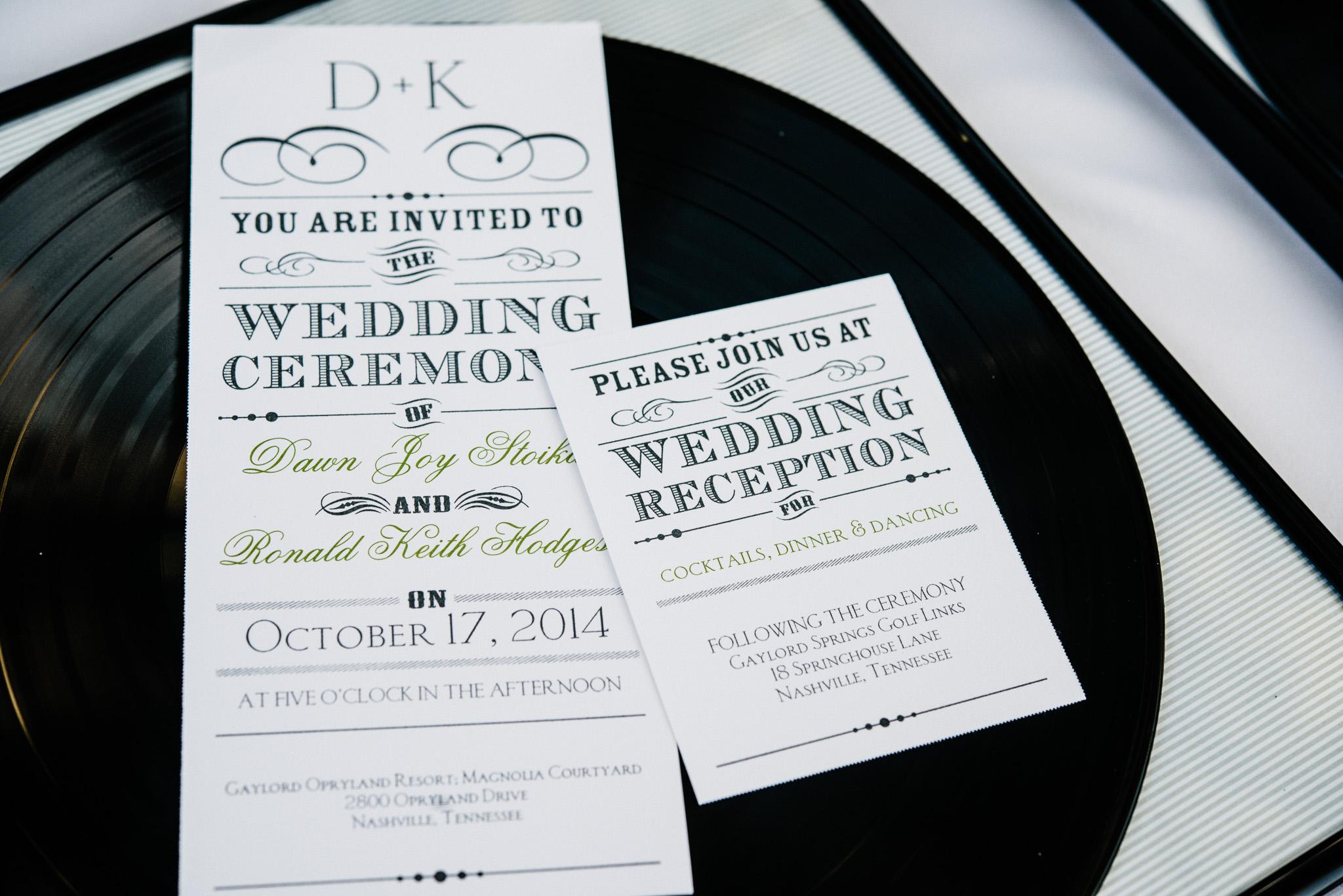 nashville-record-wedding-invitation | Celladora Wedding Photography