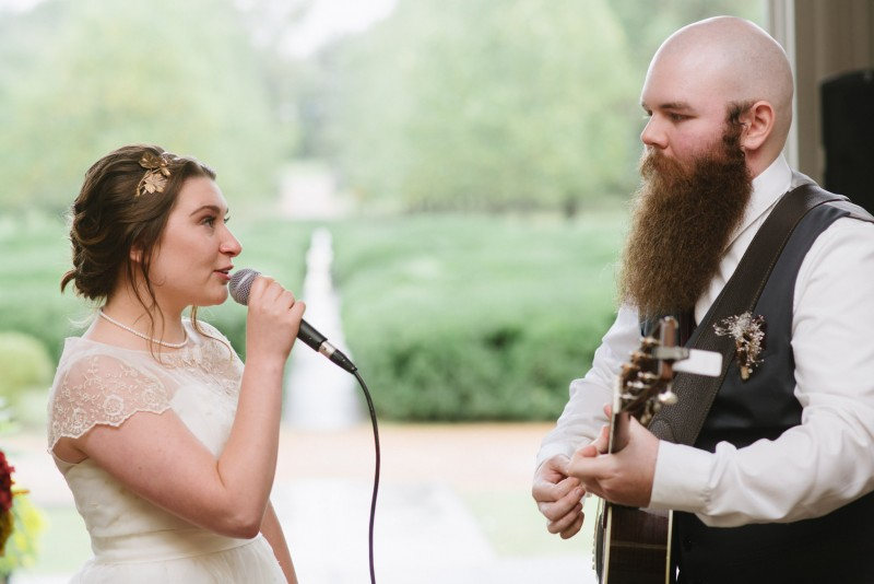 bride-singing-to-groom-800x534 Two Rivers Mansion Fall Wedding | Kristen and Chris