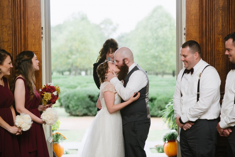 first-kiss-wedding-800x534 Two Rivers Mansion Fall Wedding | Kristen and Chris