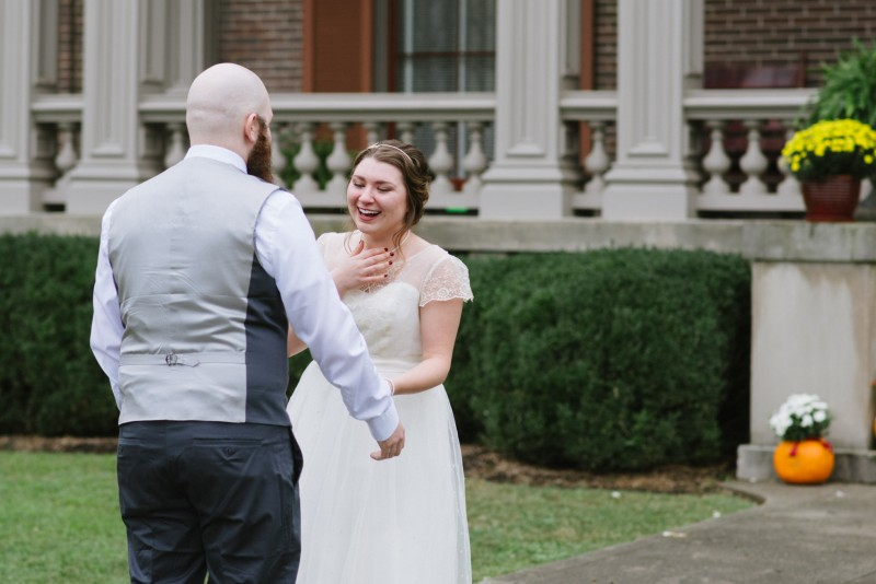 first-look-bride1-800x534 Two Rivers Mansion Fall Wedding | Kristen and Chris