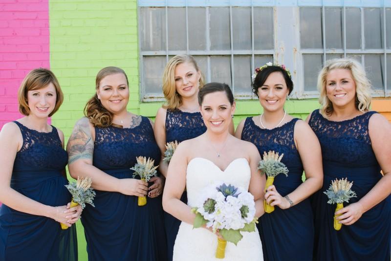 bridesmaids-colorful-wall-800x534 Elisa + Jerrad Wedding | Balinese Ballroom | Memphis, TN