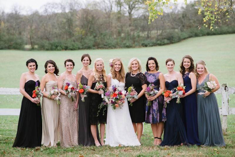 bridesmaids-in-different-dresses-800x534 Laurie + Craig - Antrim Wedding   Columbia, TN