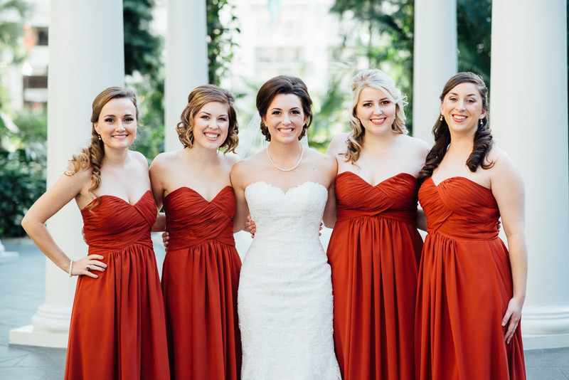 bridesmaids-red-dresses-800x534 Julia and Wes | Nashville, TN Winter Wedding | Gaylord Opryland Hotel