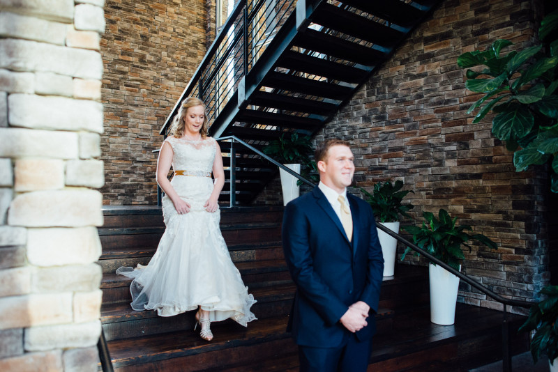 first-look-on-stairs-800x534 Rachel + Kyle | Nelson Andrews Lodge | Nashville, TN