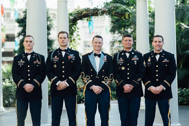 military-groomsmen-800x534 Julia and Wes | Nashville, TN Winter Wedding | Gaylord Opryland Hotel