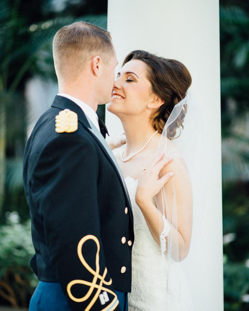 military-wedding-kiss Julia and Wes | Nashville, TN Winter Wedding | Gaylord Opryland Hotel