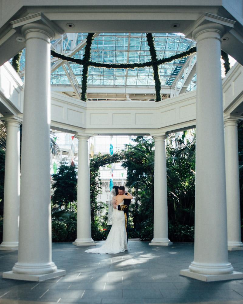 opryland-wedding-first-look Julia and Wes | Nashville, TN Winter Wedding | Gaylord Opryland Hotel
