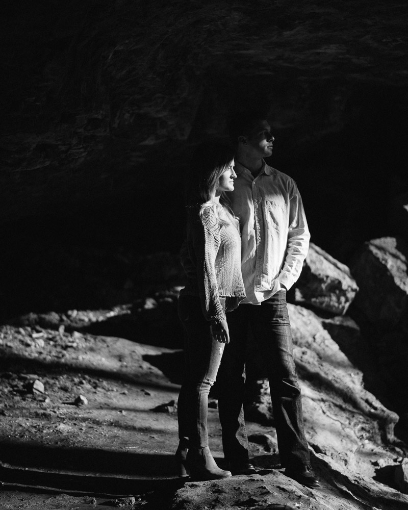 rock-island-engagement-black-and-white Rock Island, Tennessee | Waterfall Engagement