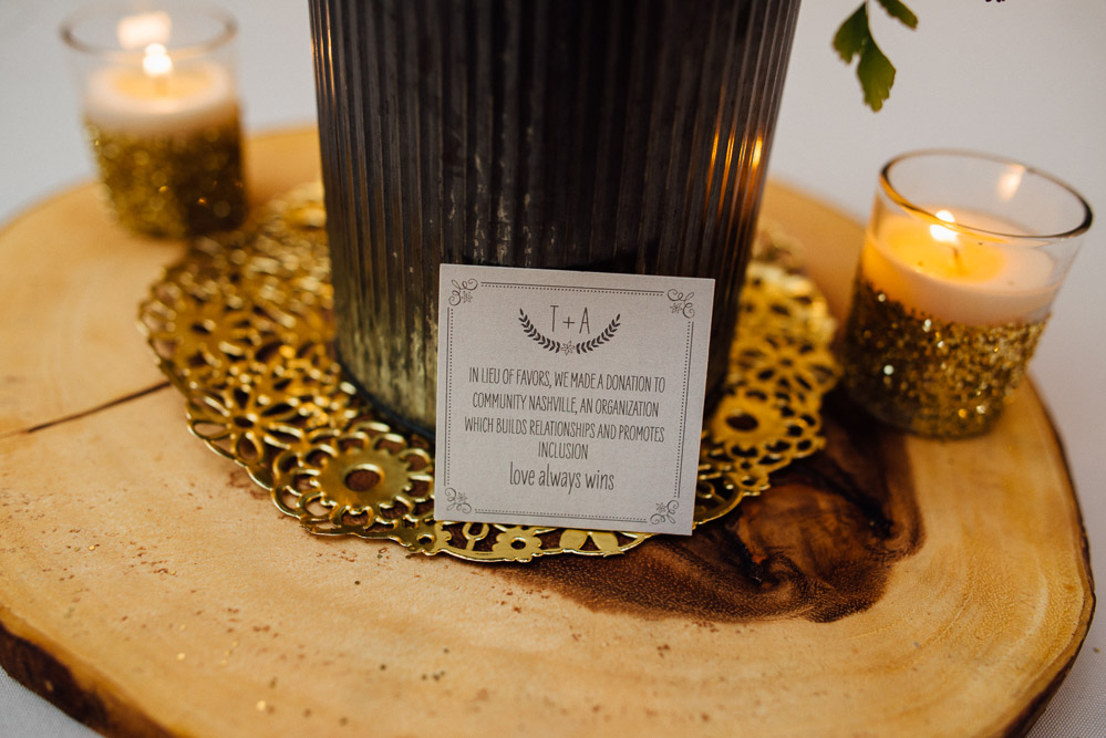 donation-instead-of-favors Amy + Tara | Travellers Rest Plantation Wedding