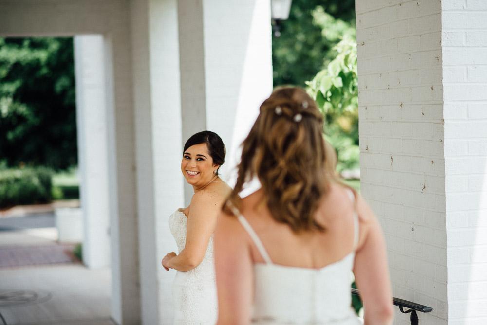 wedding-first-look Amy + Tara | Travellers Rest Plantation Wedding