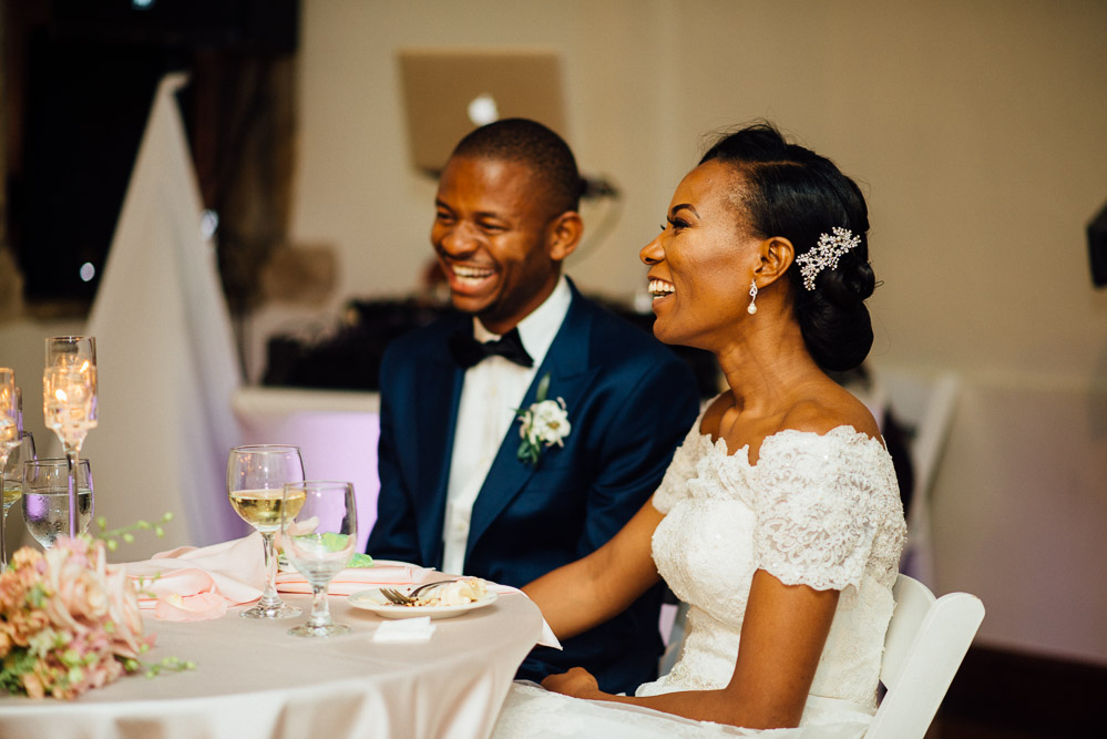 bride-groom-at-head-table Cloisters Castle Wedding | Towson Maryland