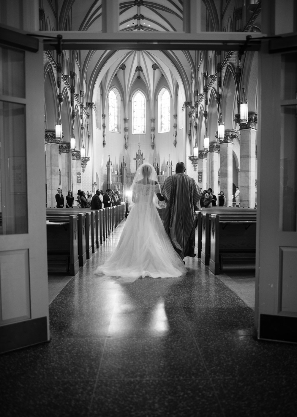 father-walking-bride-down-aisle Cloisters Castle Wedding | Towson Maryland