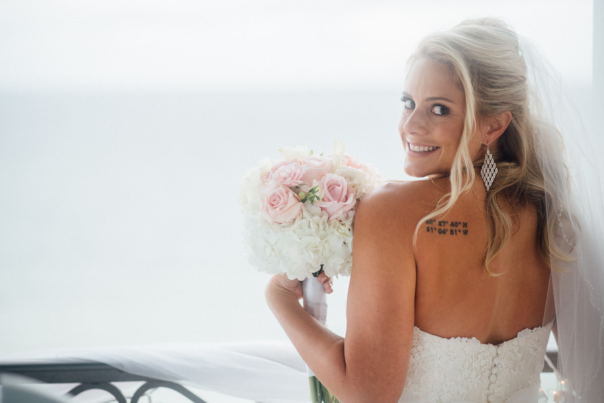 bride-with-tattoo Destin Beach House | Destination Wedding | Kasey and Rocky