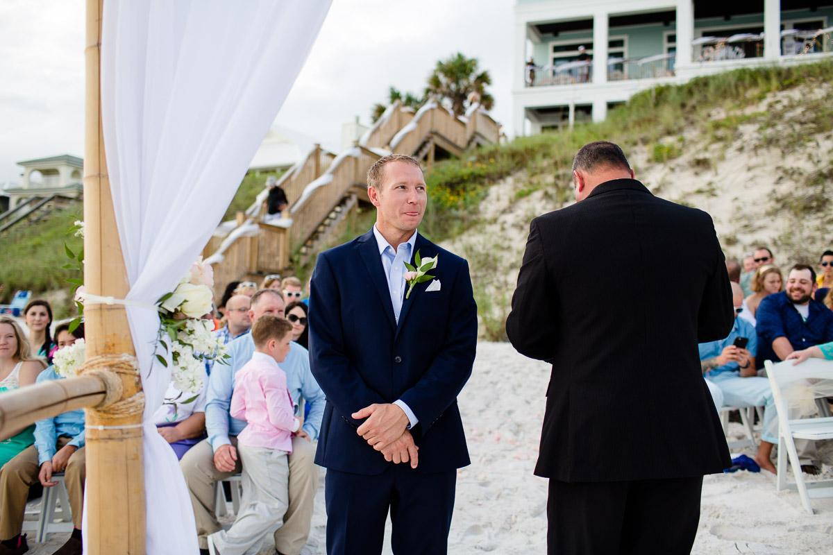 groom-waiting-for-bride Destin Beach House | Destination Wedding | Kasey and Rocky