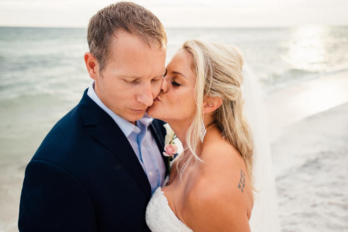 kiss-on-cheek Destin Beach House | Destination Wedding | Kasey and Rocky
