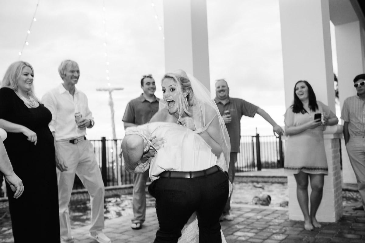 surprised-bride Destin Beach House | Destination Wedding | Kasey and Rocky