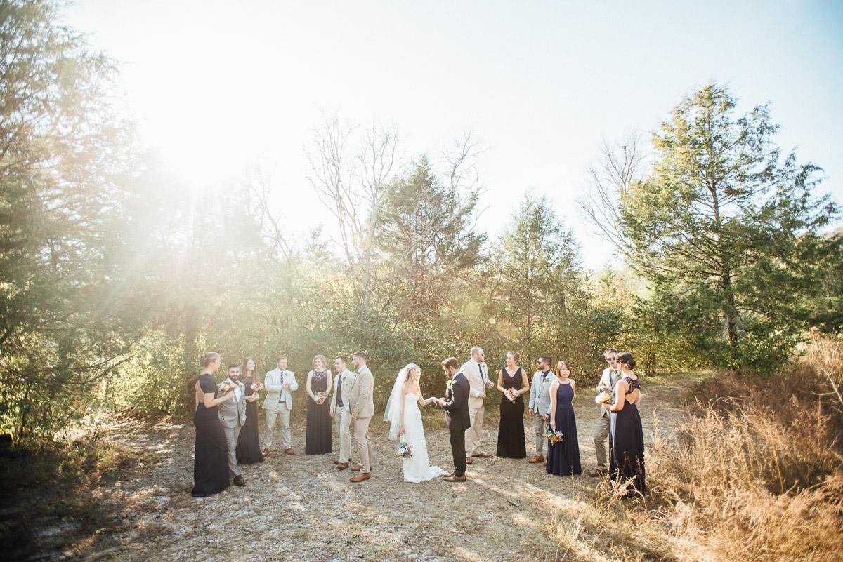 bridal-party-in-sunlight Becky and Alex   Green Door Gourmet - Fall Nashville Wedding
