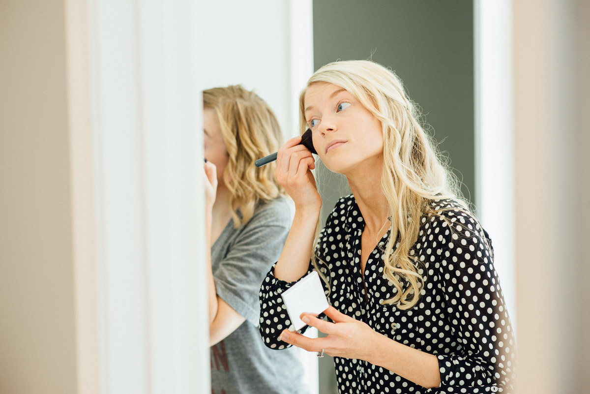 bride-doing-makeup Becky and Alex | Green Door Gourmet - Fall Nashville Wedding