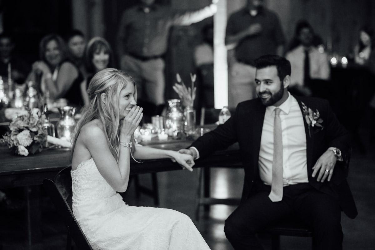 bride-lauging Becky and Alex   Green Door Gourmet - Fall Nashville Wedding