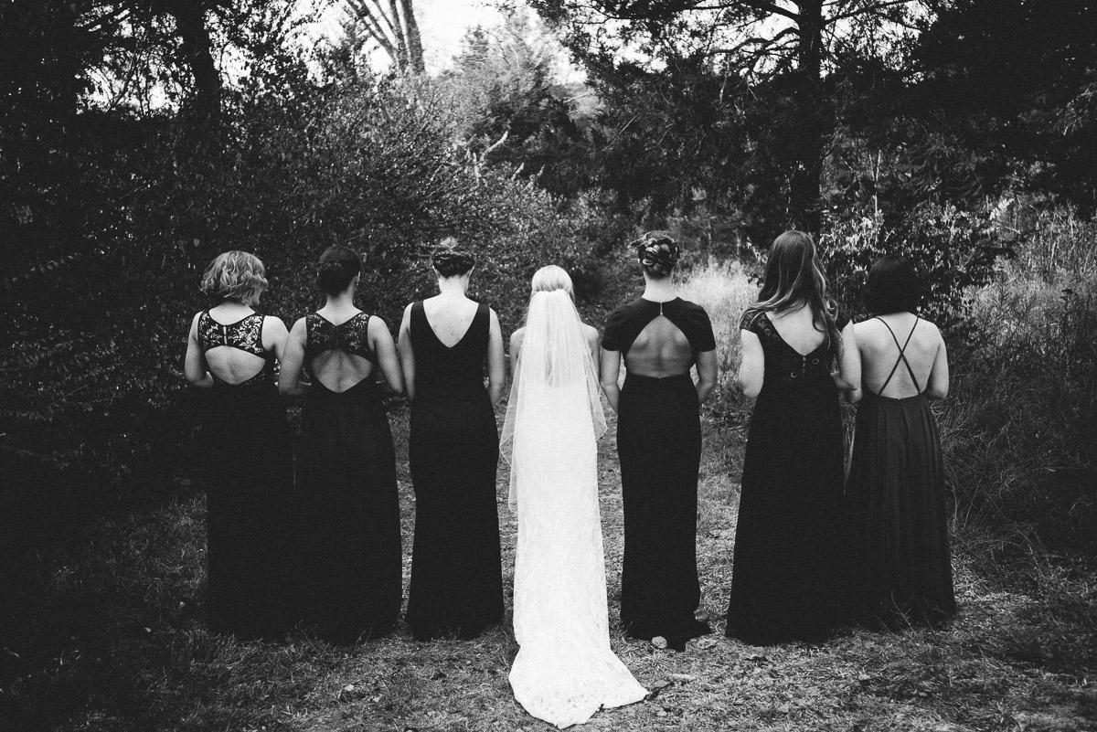 bridesmaids-mismatched-dresses Becky and Alex   Green Door Gourmet - Fall Nashville Wedding