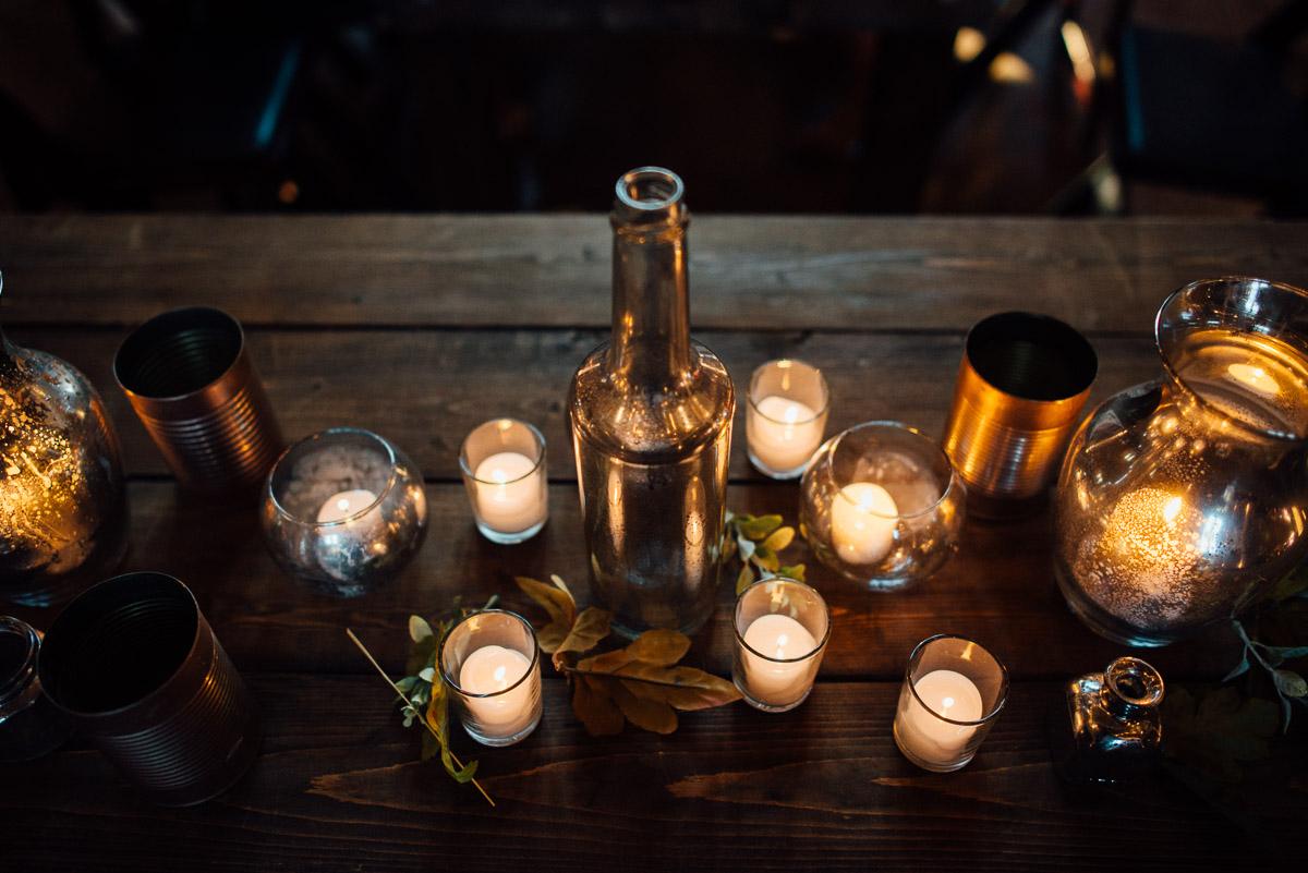 candles-and-bottles-centerpieces Becky and Alex   Green Door Gourmet - Fall Nashville Wedding