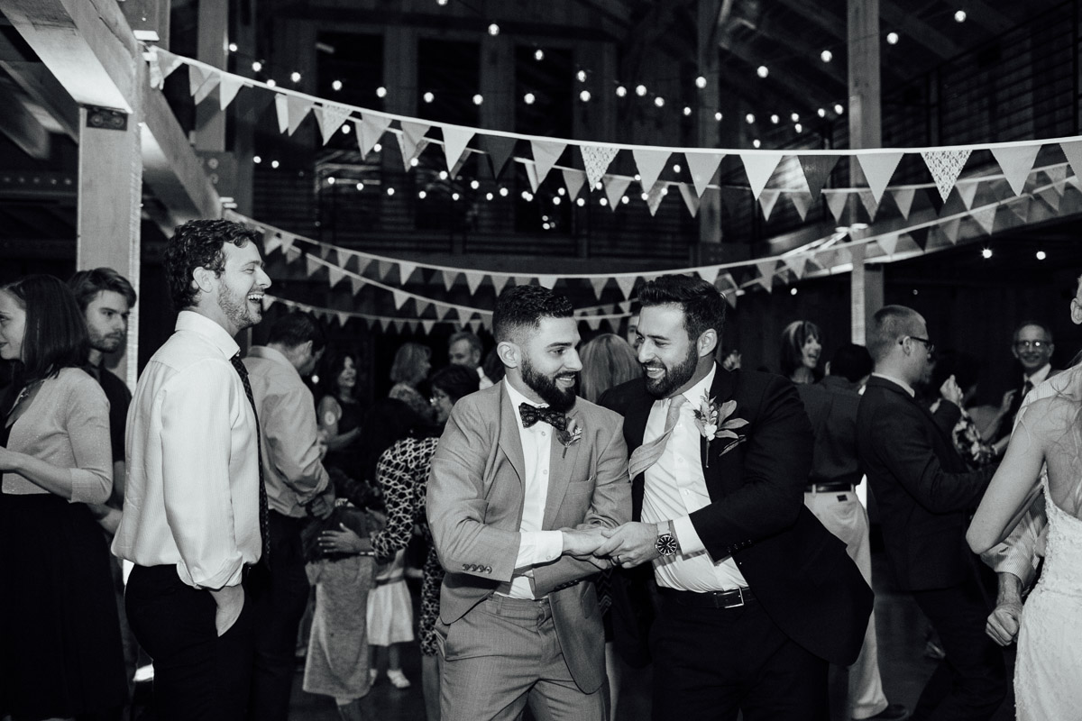 groom-dancing-with-friend Becky and Alex | Green Door Gourmet - Fall Nashville Wedding