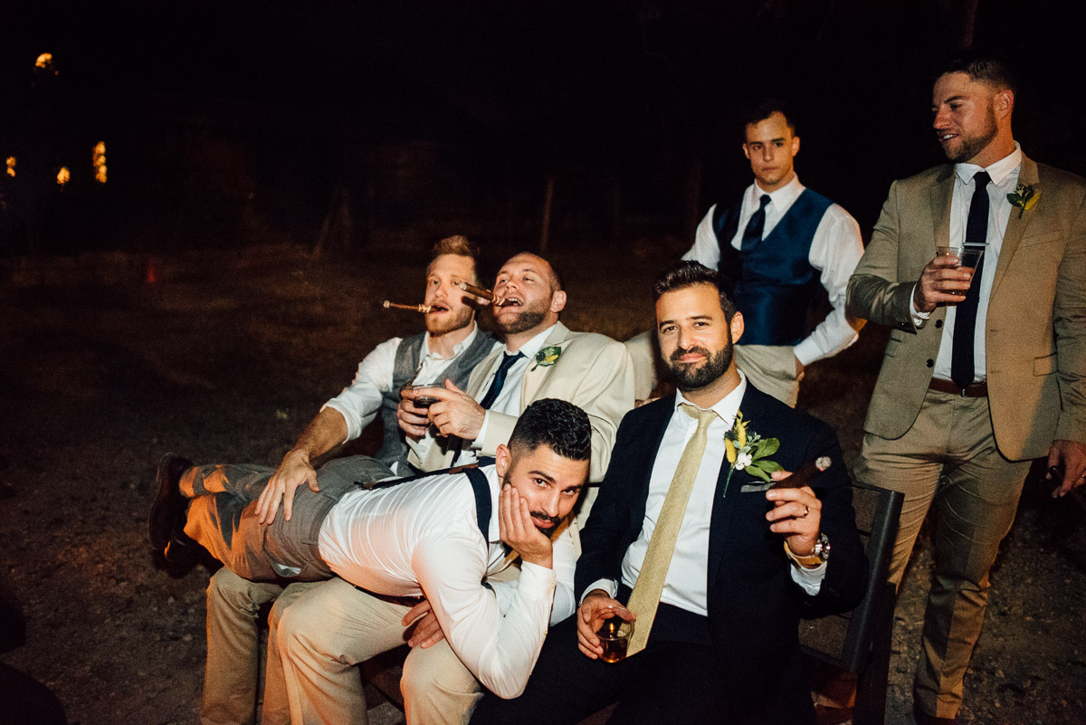 groom-groomsmen-cigars Becky and Alex | Green Door Gourmet - Fall Nashville Wedding