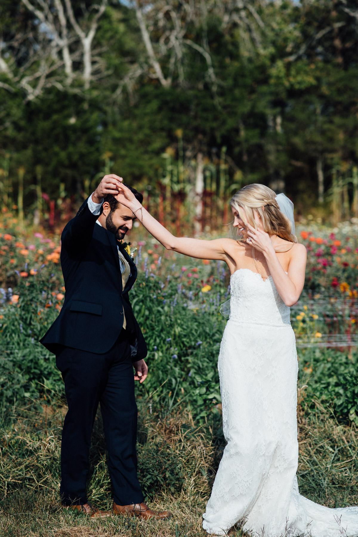 groom-twirling-bride Becky and Alex   Green Door Gourmet - Fall Nashville Wedding