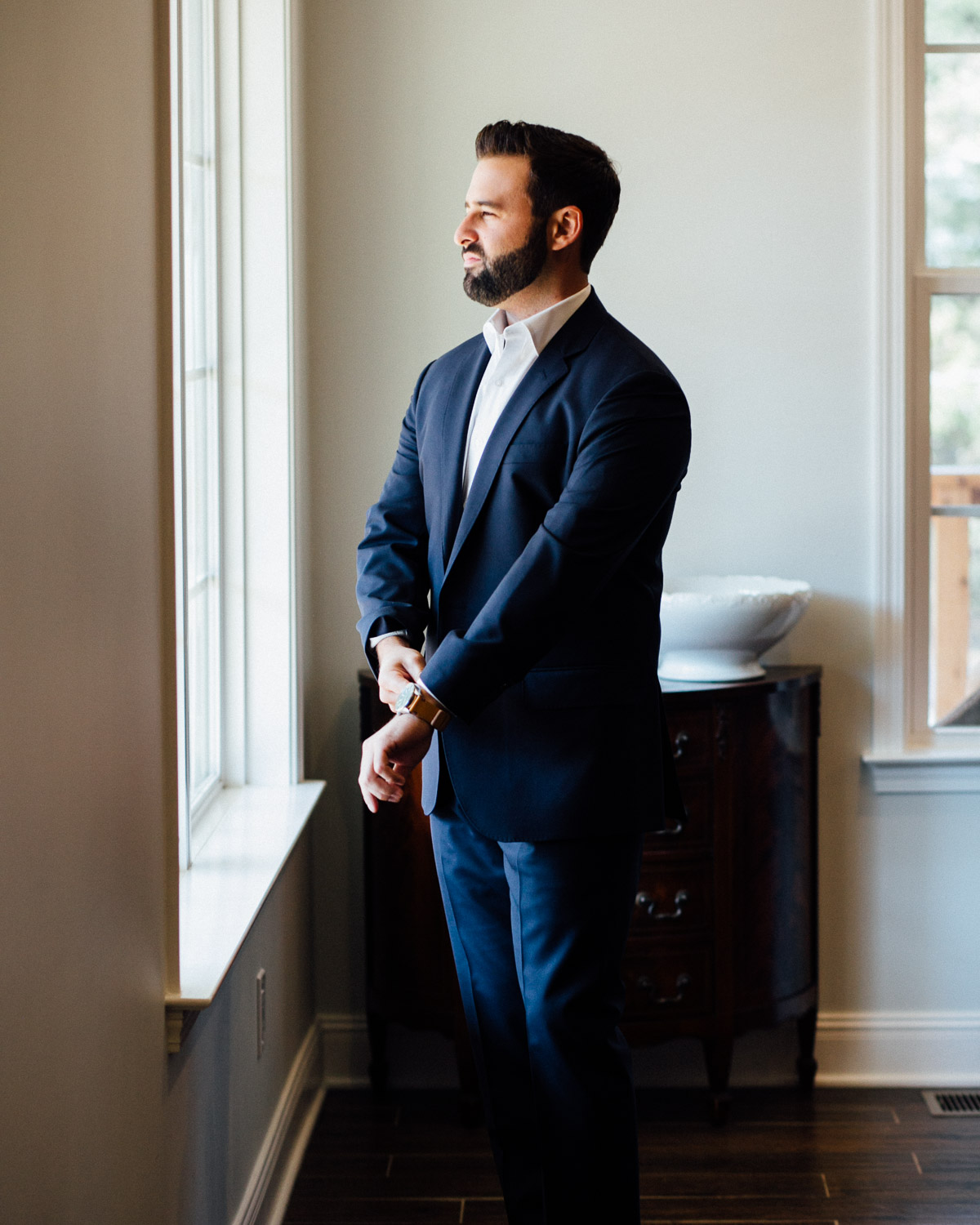 groom-waiting-for-bride Becky and Alex | Green Door Gourmet - Fall Nashville Wedding