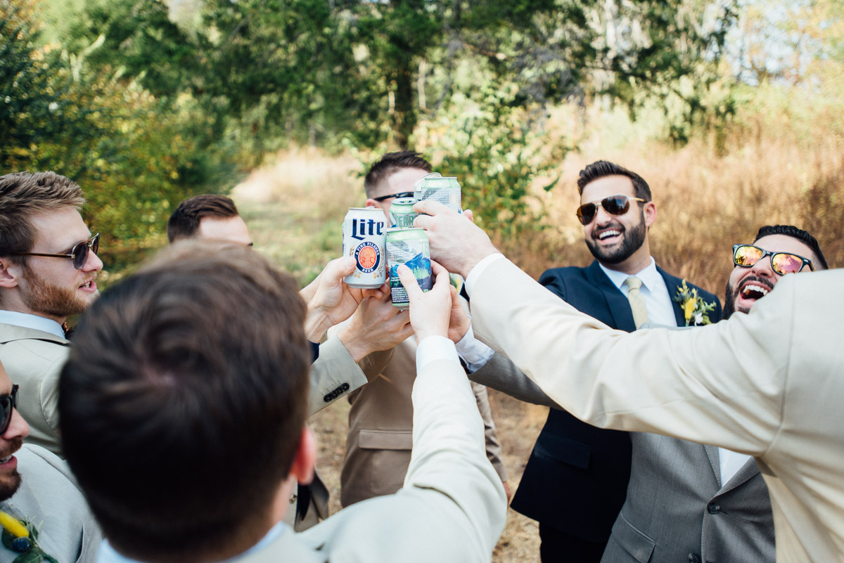 groomsmen-cheers Becky and Alex | Green Door Gourmet - Fall Nashville Wedding
