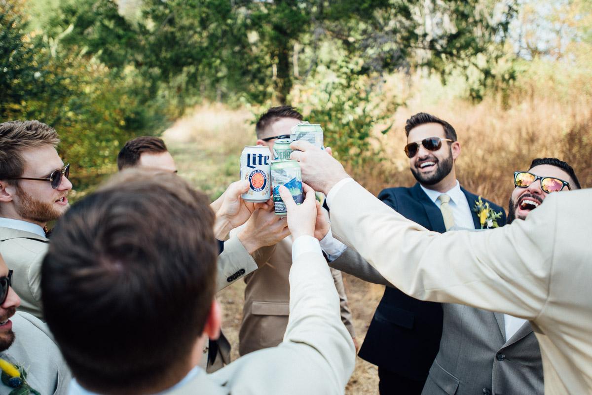groomsmen-cheers Becky and Alex   Green Door Gourmet - Fall Nashville Wedding