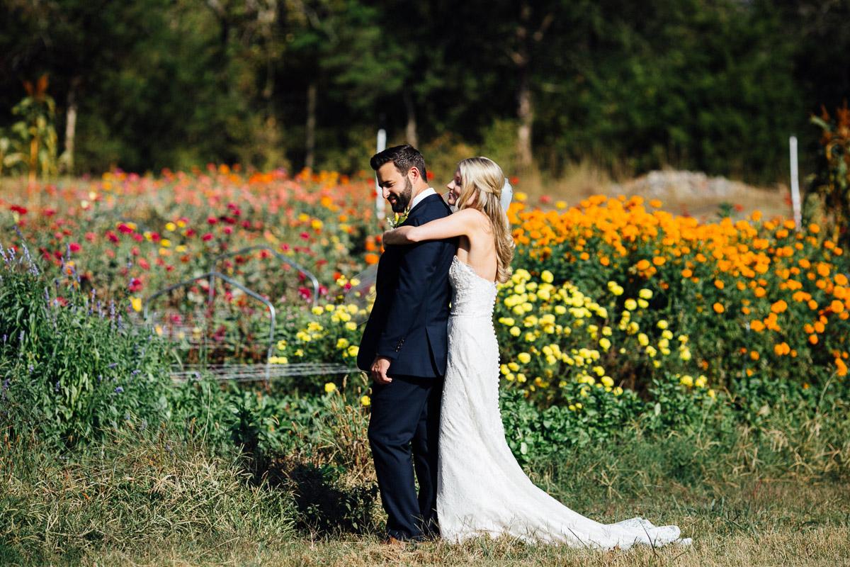 hug-from-behind Becky and Alex   Green Door Gourmet - Fall Nashville Wedding