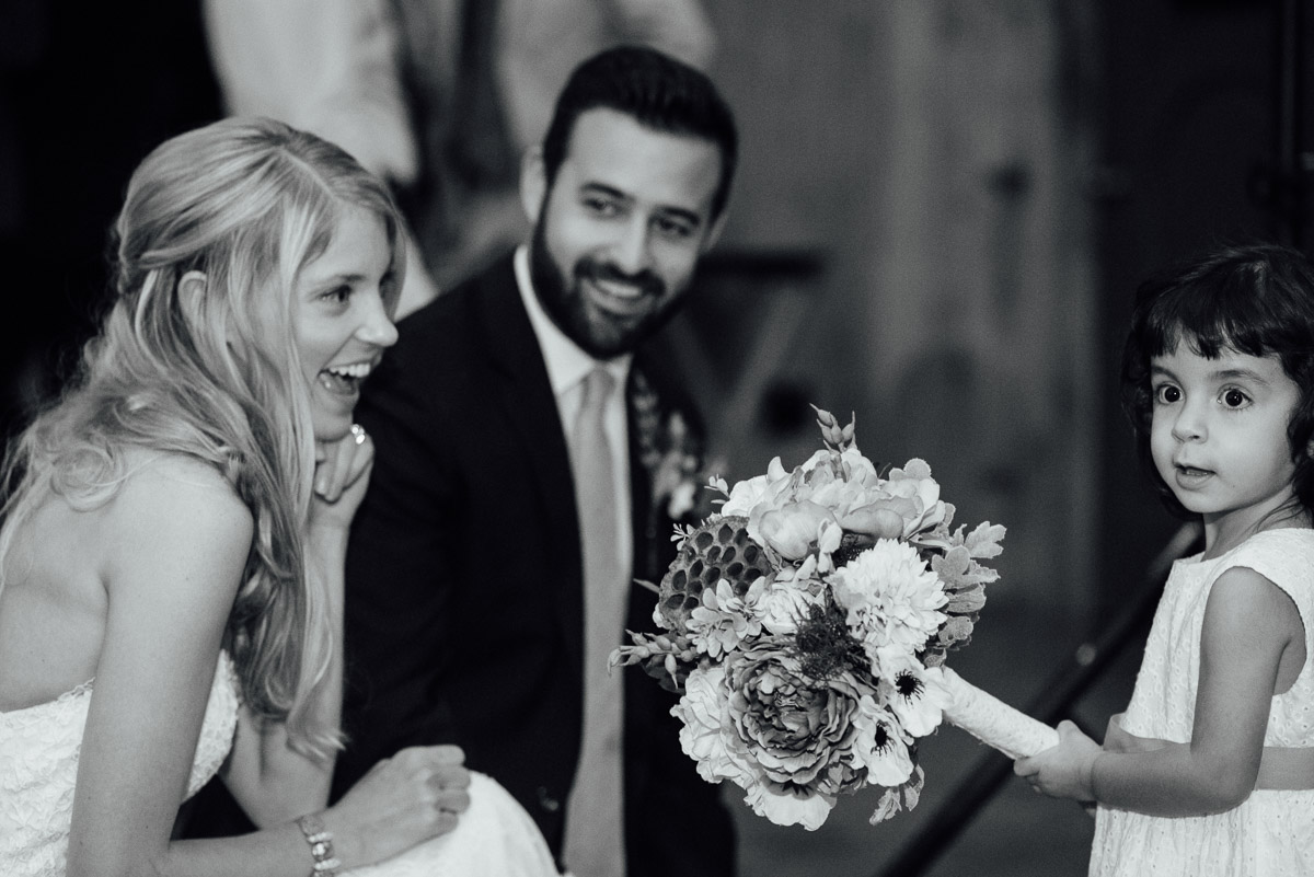 little-girl-with-bride Becky and Alex   Green Door Gourmet - Fall Nashville Wedding