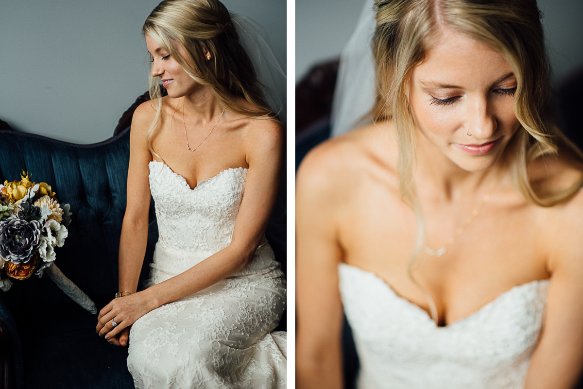 seated-bridal-portrait Becky and Alex | Green Door Gourmet - Fall Nashville Wedding