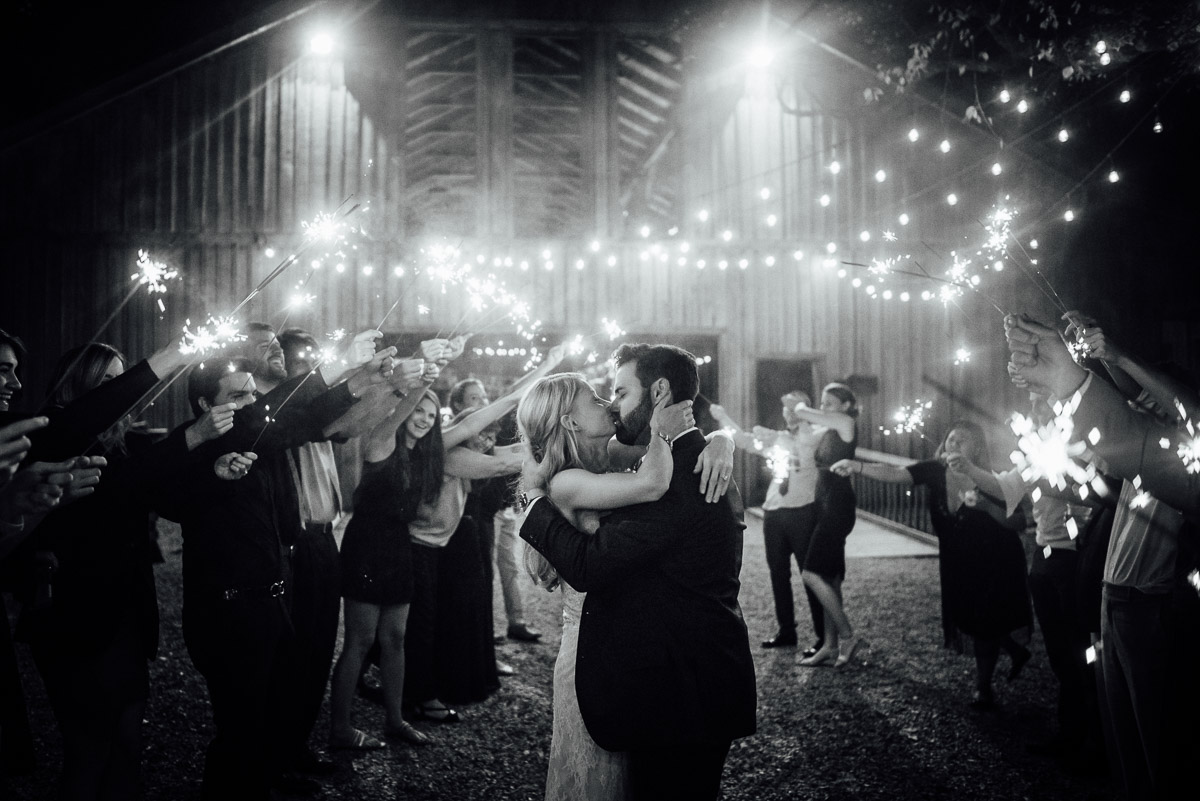 sparkler-exit-wedding-kiss Becky and Alex | Green Door Gourmet - Fall Nashville Wedding