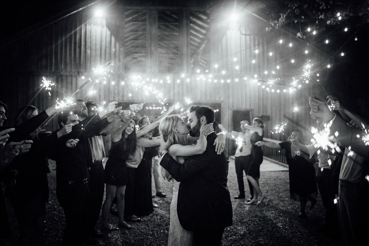 sparkler-exit-wedding-kiss Becky and Alex   Green Door Gourmet - Fall Nashville Wedding