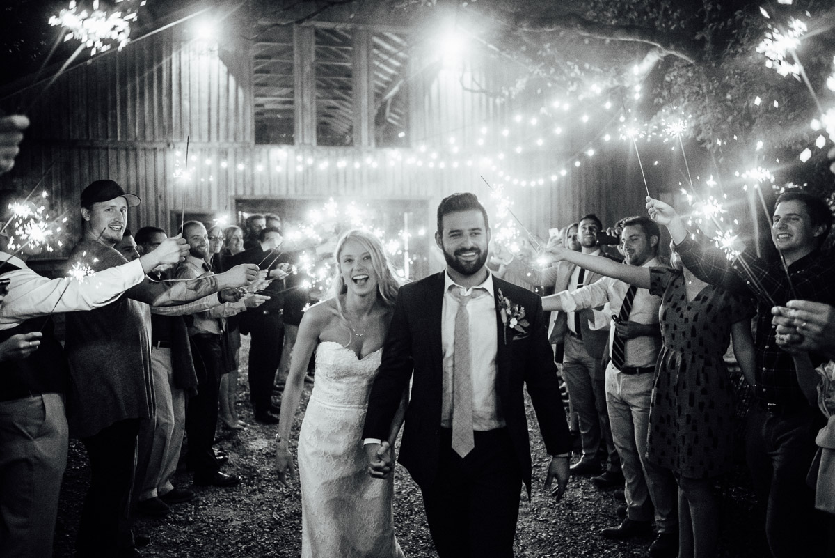 sparkler-exit Becky and Alex | Green Door Gourmet - Fall Nashville Wedding