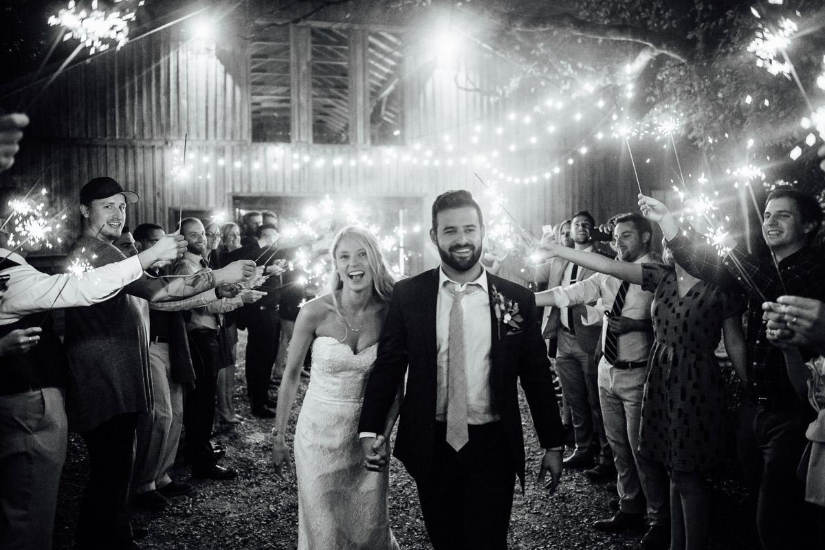 sparkler-exit Becky and Alex   Green Door Gourmet - Fall Nashville Wedding