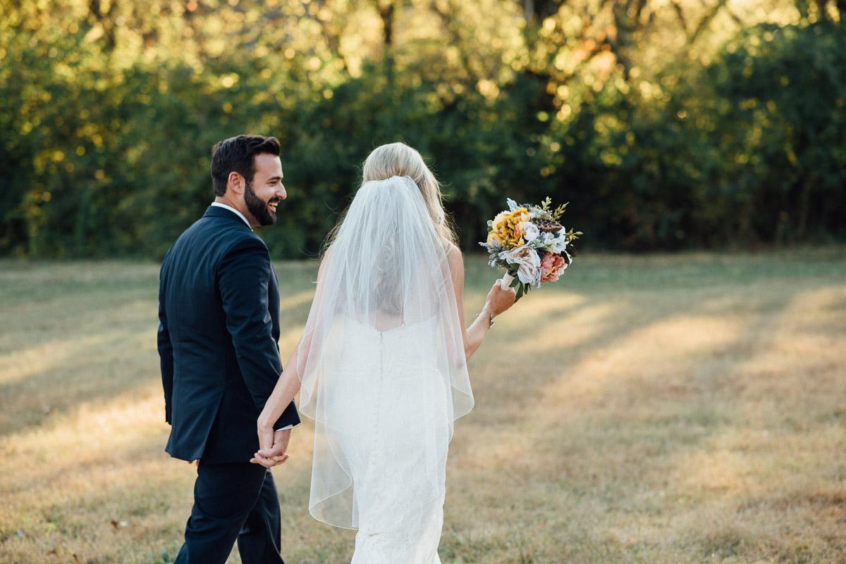 walking Becky and Alex   Green Door Gourmet - Fall Nashville Wedding
