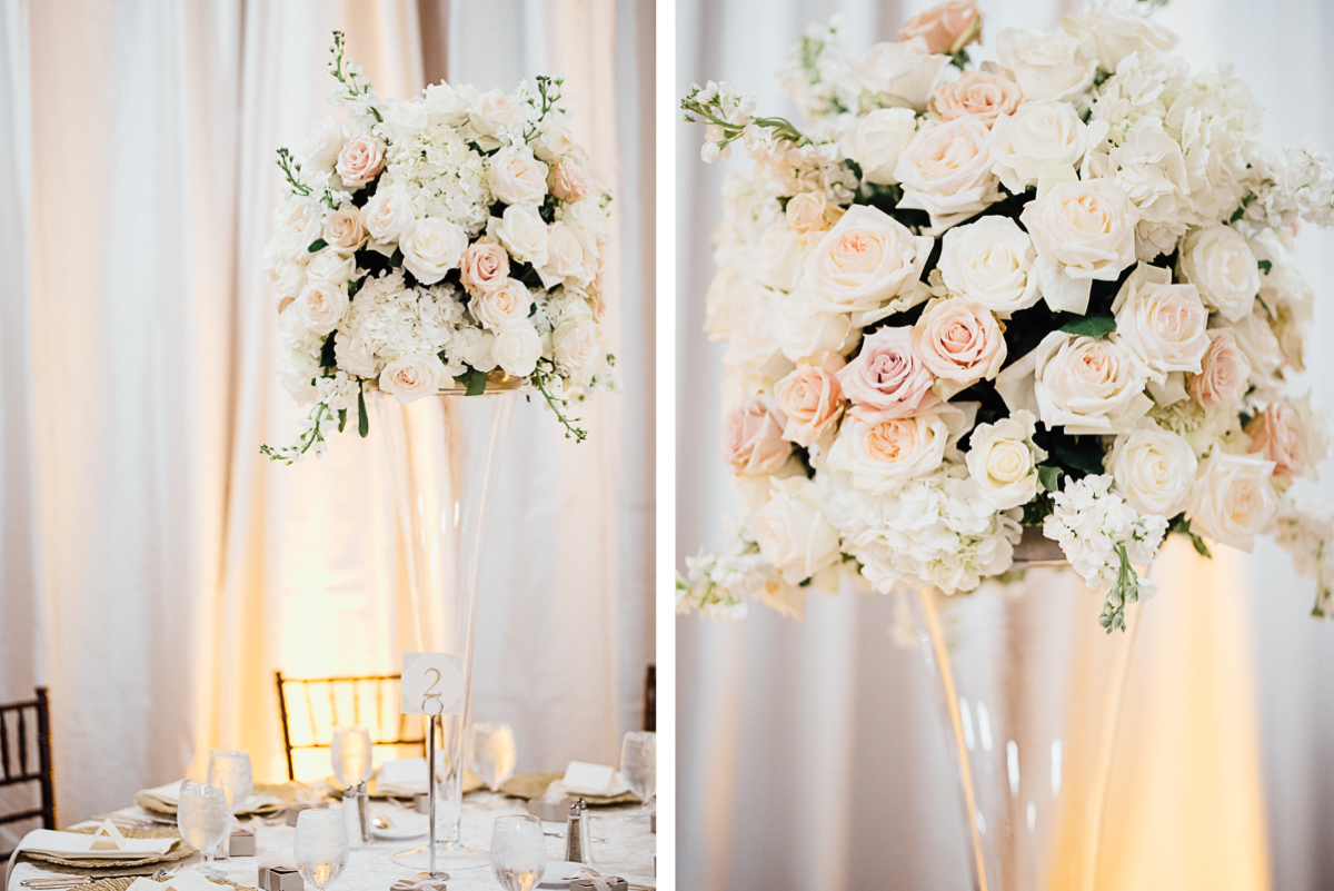 beautiful-rose-centerpieces Hermitage Hotel Wedding | Barbara and Darrius