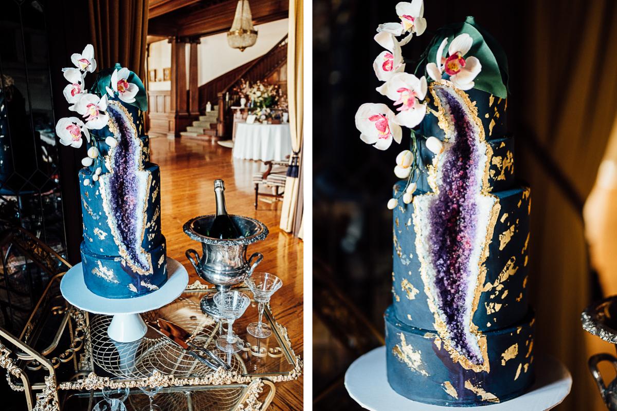 Geode Wedding Cake.Celladora Wedding Photography Blue Purple Geode Wedding Cake