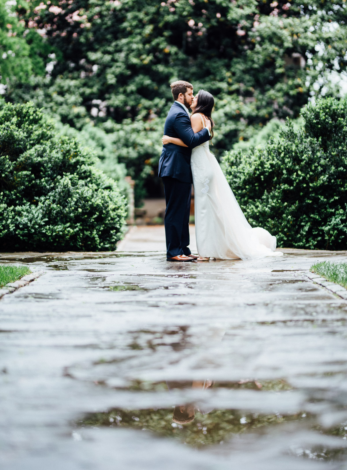 bride-groom-portrait-puddle Belle Meade Plantation Wedding | Kendall and Andrew