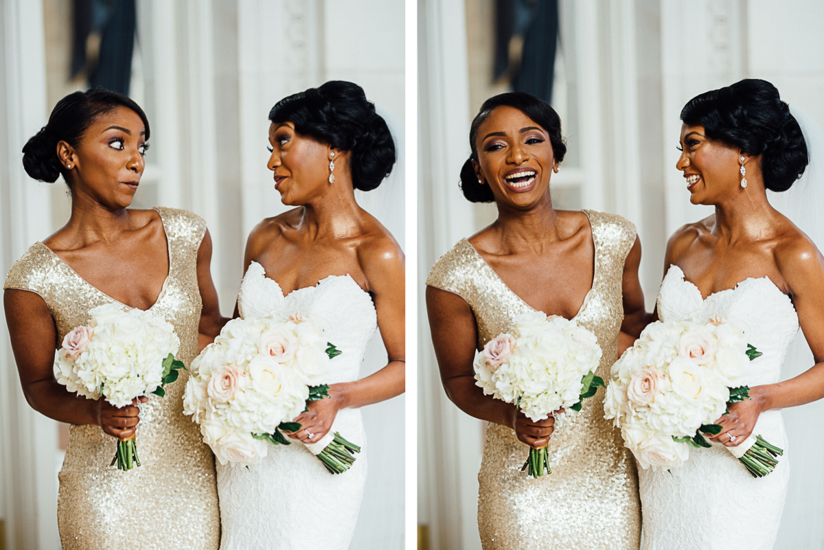 bride-with-bridesmaid-laughing Hermitage Hotel Wedding | Barbara and Darrius