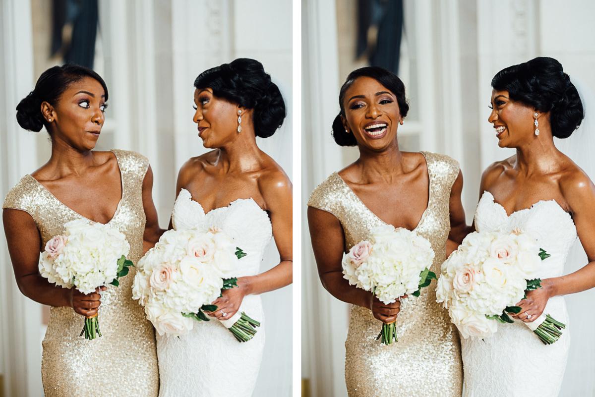 bride-with-bridesmaid-laughing Hermitage Hotel Wedding | Barbara and Darrius